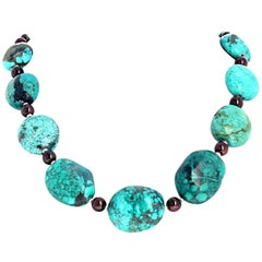 Polished Garnets and Turquoise Necklace