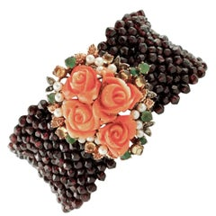 Garnets Diamonds Emeralds Yellow Topaz Coral, Pearl 9Kt Gold and Silver Bracelet