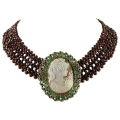 Garnets, Diamonds, Emeralds, Rubies, Cameo, 9 Karat Gold and Silver Necklace