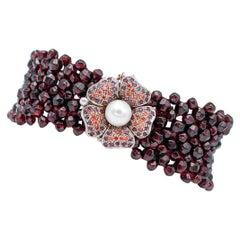 Garnets, Rubies, Stones, Pearl, 9 Karat Rose Gold and Silver Retrò Bracelet
