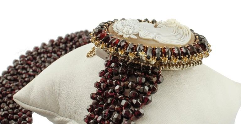 Garnets, Yellow Topazes, Cameo, 9 Karat Rose Gold and Silver Necklace In Excellent Condition For Sale In Marcianise, Caserta