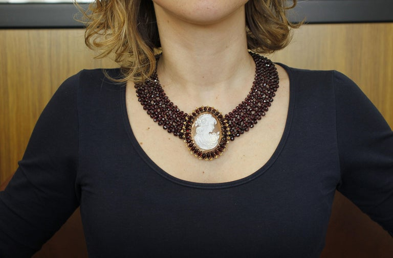 Women's Garnets, Yellow Topazes, Cameo, 9 Karat Rose Gold and Silver Necklace For Sale