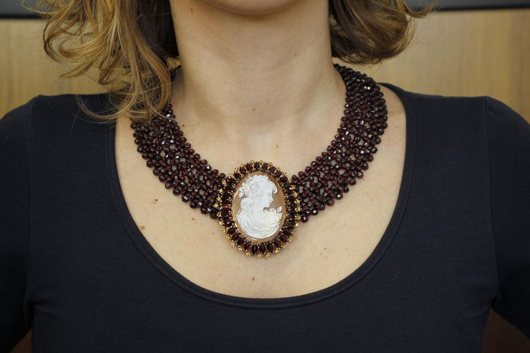 Garnets, Yellow Topazes, Cameo, 9 Karat Rose Gold and Silver Necklace For Sale 1