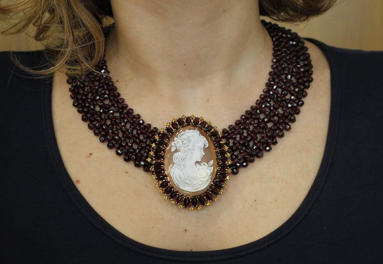 Garnets, Yellow Topazes, Cameo, 9 Karat Rose Gold and Silver Necklace For Sale 2