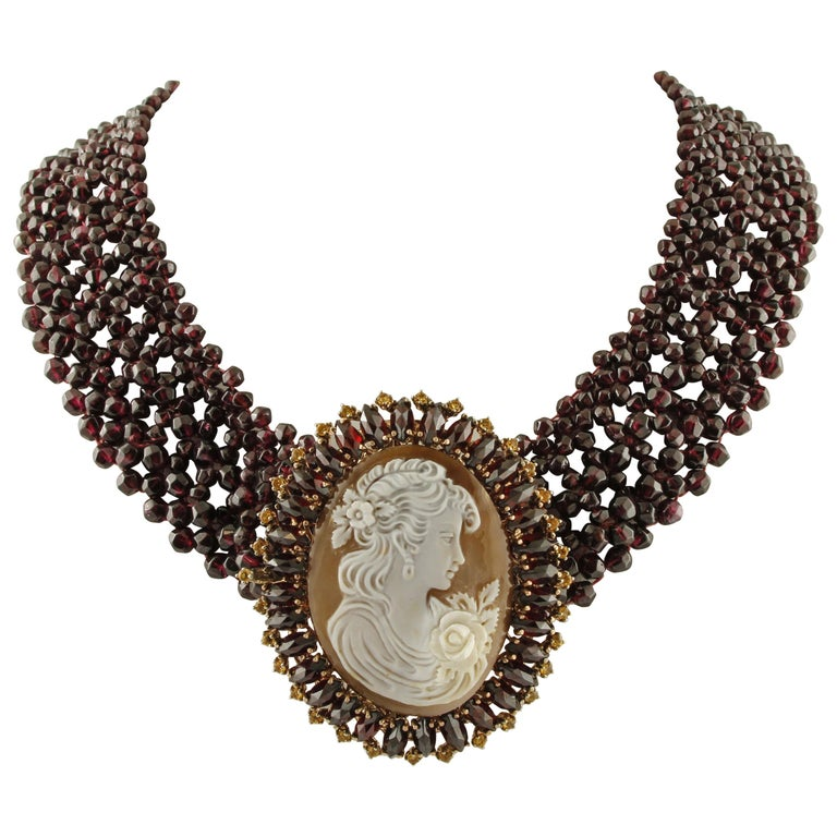 Garnets, Yellow Topazes, Cameo, 9 Karat Rose Gold and Silver Necklace For Sale