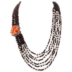 Garnets Diamonds Emeralds Topaz, Pearls, Coral 9kt, Gold and Silver Necklace