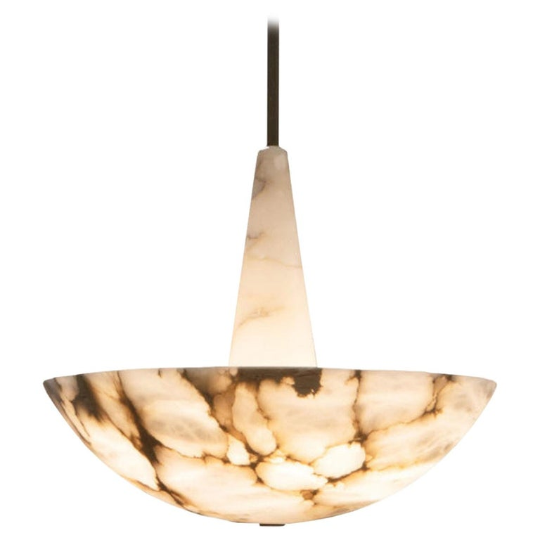Garnier & Linker Alabaster Pendant Light in Alabaster and Brass For Sale