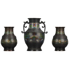 Garniture Antique circa 1900 Japanese Bronze Vase Flowers Home Decoration
