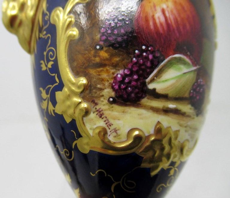 Garniture Coalport Porcelain Vases Urns Hand Painted Still Life Flowers Birds For Sale 2