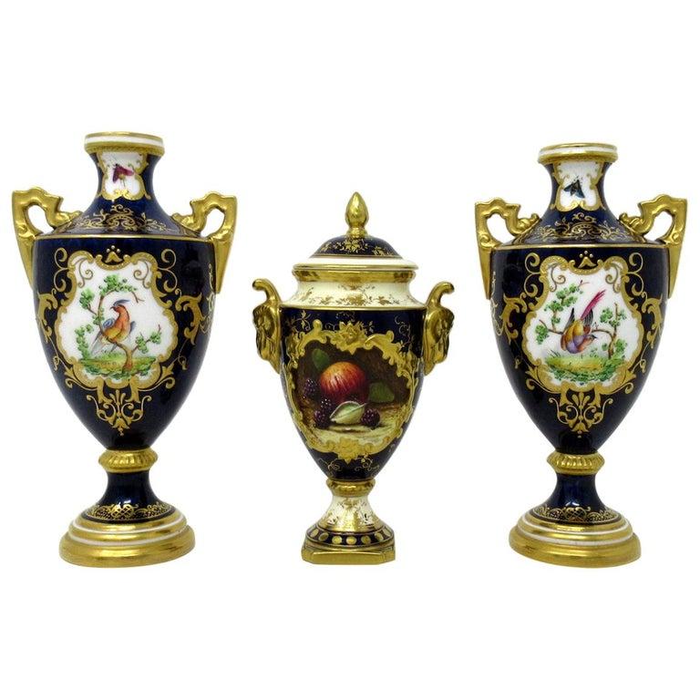 Garniture Coalport Porcelain Vases Urns Hand Painted Still Life Flowers Birds For Sale