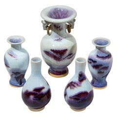 Garniture of Chinese Flambe Glazed Vases