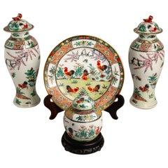 Garniture Set Chinese Vases with Dish