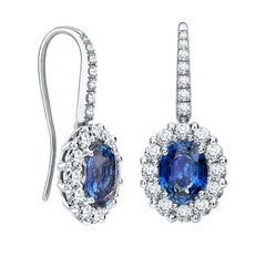Garrard '1735' 18 Karat White Gold Diamond GIA 1.25 Oval Blue Sapphire Earrings