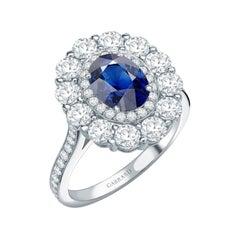 Garrard 1735 GIA Oval Blue Sapphire Diamond Platinum Cluster Engagement Ring