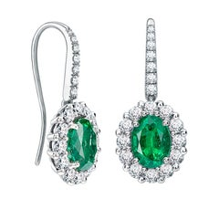Garrard '1735' Platinum GCS Certified Emerald and White Diamond Cluster Earrings
