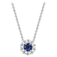 Garrard '1735' Platinum GIA Certified Blue Sapphire and White Diamond Pendant