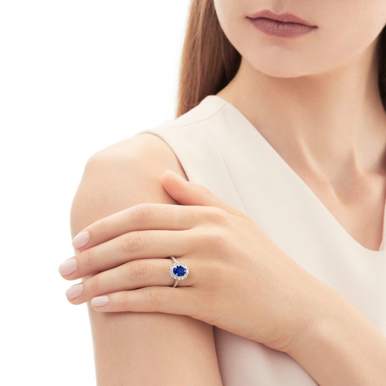 Oval Cut Garrard 1735 Platinum GIA Oval Blue Sapphire Diamond Cluster Engagement Ring For Sale
