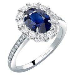 Garrard 1735 Platinum GIA Oval Blue Sapphire Diamond Cluster Engagement Ring
