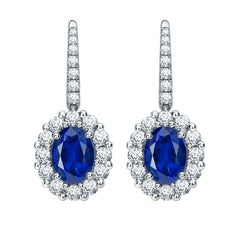 Garrard  '1735 Platinum' GIA Certified Oval Sapphire & Diamond Cluster Earrings