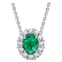 Garrard '1735' Platinum GIA Oval Emerald Round White Diamond Drop Pendant