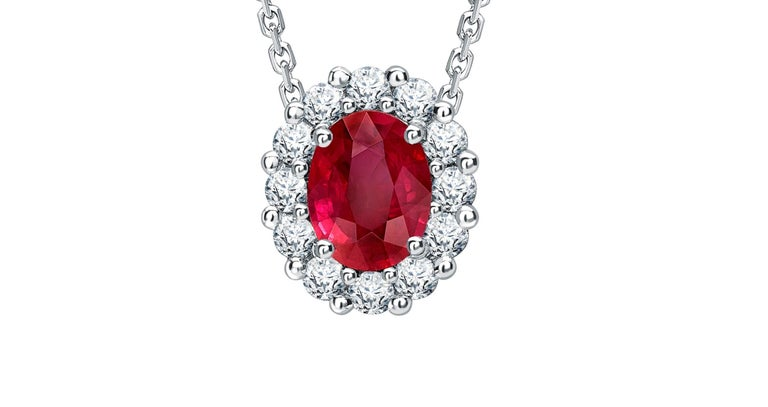 Oval Cut Garrard 1735 Platinum GIA Oval Ruby & White Diamond Cluster Drop Pendant For Sale