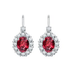 Garrard 1735 Platinum Oval Ruby and White Diamond Cluster Drop Earrings