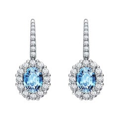Garrard '1735' Platinum White Diamond and Aquamarine Drop Earrings