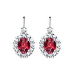 Garrard '1735' Platinum White Diamond and Oval Ruby Drop Earrings