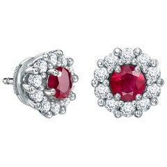 Garrard '1735' Platinum White Diamond and Ruby Earrings