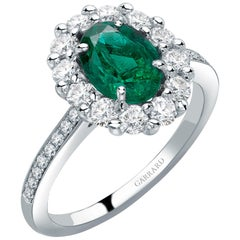 Garrard '1735' Platinum White Gold Emerald and White Diamond Ring