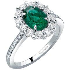 Garrard '1735' Platinum Oval Emerald and White Diamond Cluster Ring