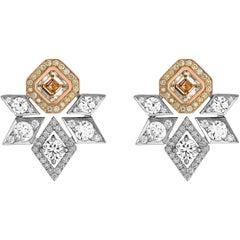 Garrard 18 Karat Gold 4.93 Carat GIA White and Yellow Diamond Stud Earrings