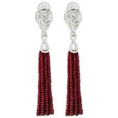 Garrard 18 Karat Gold 'Entanglement' White Diamond and Ruby Bead Tassel Earrings