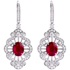 Garrard 18 karat GRS Burmese Vivid Red Pigeon's Blood Oval Ruby Drop Earrings