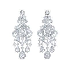 Garrard Bridal 18 Karat White Gold GIA Certified Diamond Chandelier Earrings
