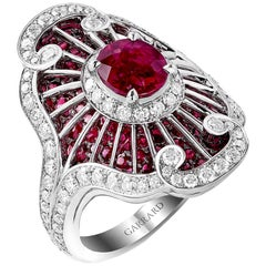 Garrard 18 Karat White Gold GIA Oval Ruby 4.55 Carat and Diamond Radiating Ring