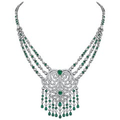 Garrard London Emerald  Pearshape Round White Diamond Necklace