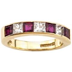 Garrard 18 Karat Yellow Gold Ladies Ruby and Diamond Ring