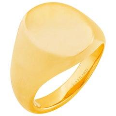 Garrard 18 Karat Yellow Gold Large Oval Signet Ring