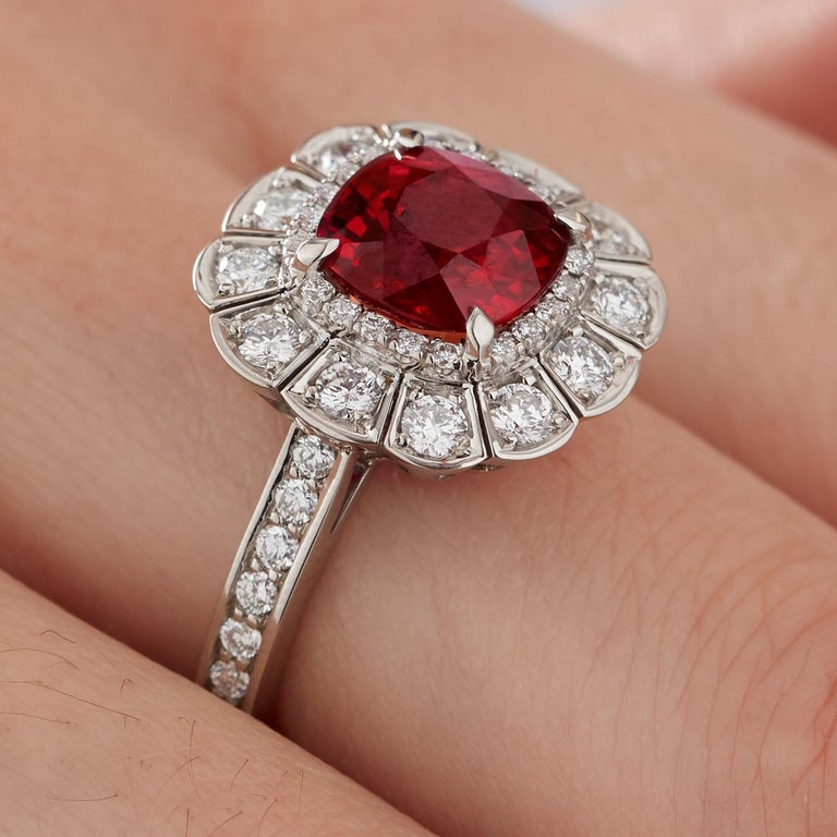 Garrard 3.04 Carat GRS Cushion Cut Vivid Red Ruby  Diamond Cocktail Ring In New Condition In London, London