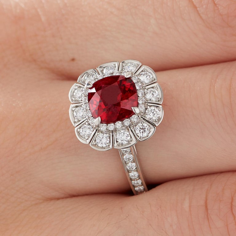 Garrard 3.04 Carat GRS Cushion Cut Vivid Red Ruby  Diamond Cocktail Ring 1