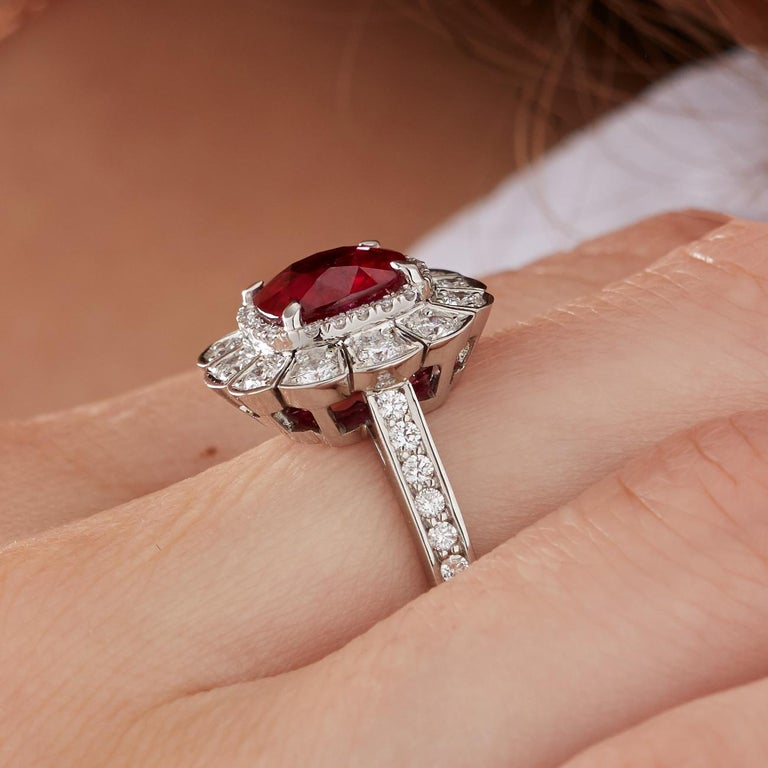 Garrard 3.04 Carat GRS Cushion Cut Vivid Red Ruby  Diamond Cocktail Ring 2