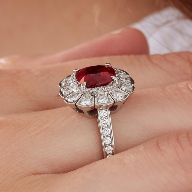 Garrard 3.04 Carat GRS Cushion Cut Vivid Red Ruby  Diamond Cocktail Ring 4