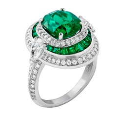 Garrard 3.08 Carat CDC Cushion Cut Emerald And  White Diamond Cocktail Ring