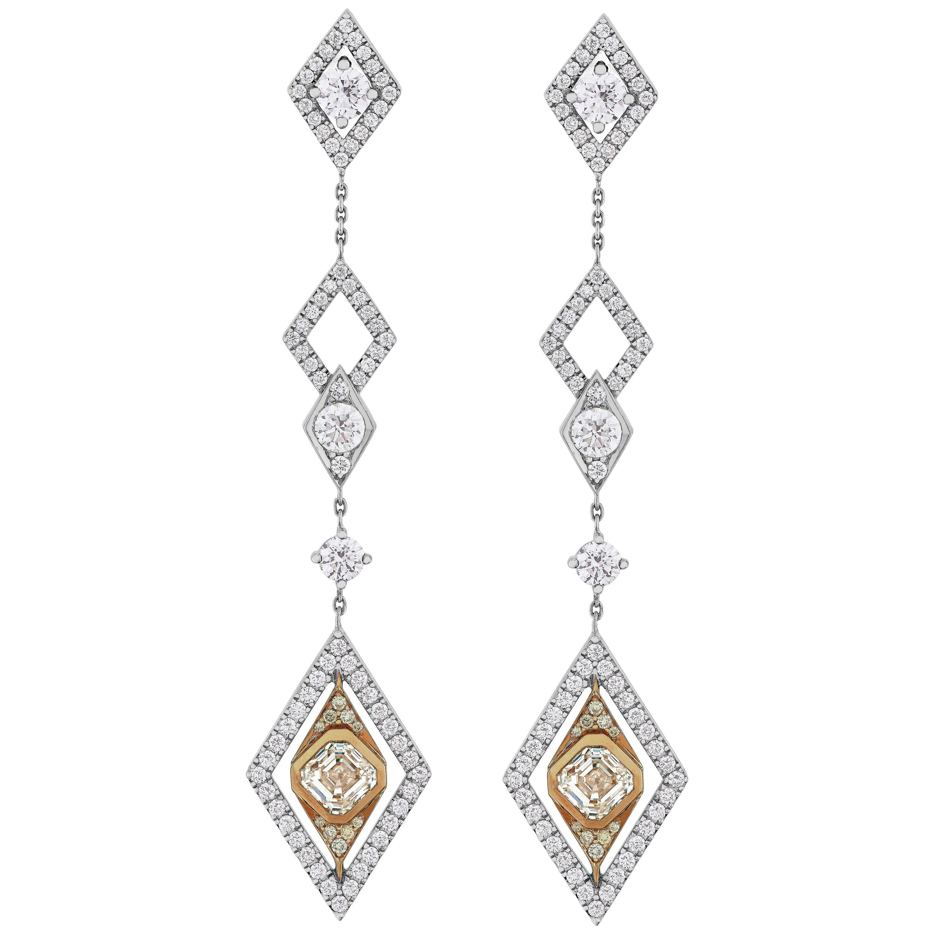 209a6a15d Garrard 4.89 Carat GIA White and Yellow Diamond Drop Chandelier Earrings  For Sale at 1stdibs