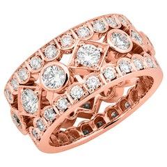 Garrard 2.45cts 'Albemarle' 18 Karat Rose Gold Diamond Cocktail Ring