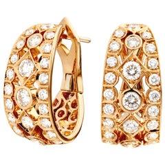 Garrard 'Albemarle' 18 Karat Rose Gold White Diamond Earrings