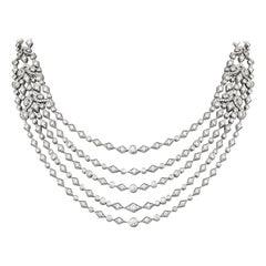 Garrard 'Albemarle' 18 Karat White Gold Diamond 21.14 Carat Five-Row Necklace