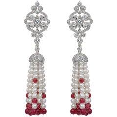 Garrard 'Albemarle' 18 Karat White Gold Diamond and Ruby Beaded Tassell Earrings