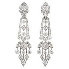 Garrard 'Albemarle' 18 Karat White Gold White Diamond 4.43 Carat Drop Earrings